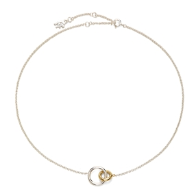 Bi-Μetal Chic 18K Yellow Gold & Silver Plated Brass Κοντό Κολιέ-