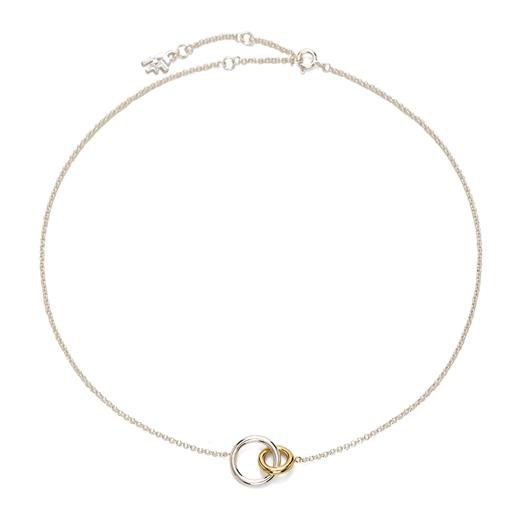 Bi-Μetal Chic 18K Yellow Gold & Silver Plated Brass Short Necklace-