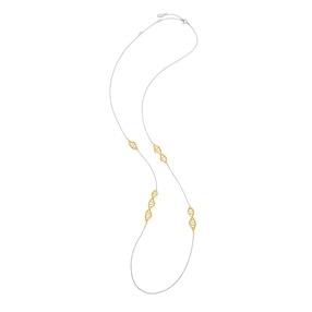 Style DNA Silver 925 με 18k Yellow Gold Plated Silver Parts Μακρύ Κολιέ-