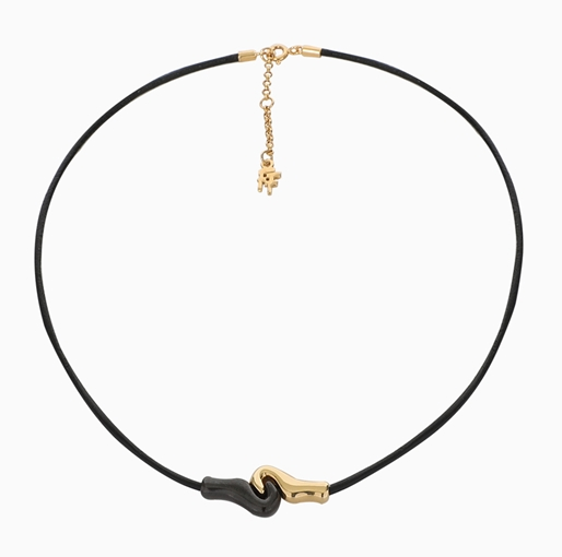 Psyche Silver 925° Necklace With Black Cord And 18K Yellow Gold Plating-