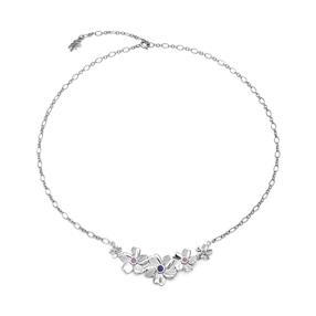 The Dreamy Flower silver 925° short chain necklace with flowers motif-