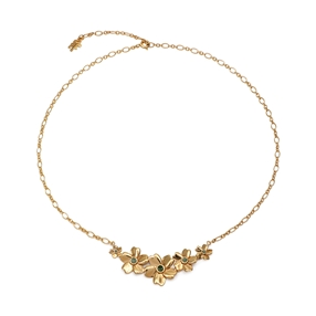 The Dreamy Flower silver 925° short chain necklace with 18K yellow gold plating and flowers motif-
