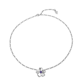 The Dreamy Flower ασημένιο 925° κοντό κολιέ αλυσίδα με μοτίφ λουλούδι-