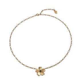 The Dreamy Flower ασημένιο 925° κοντό κολιέ αλυσίδα σε 18K κίτρινη επιχρύσωση με μοτίφ λουλούδι-