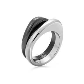 Metal Chic Silver And Gun Plated Double Ring-