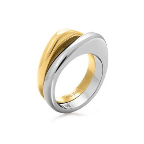Metal Chic Silver And Yellow Gold Plated Διπλό Δαχτυλίδι-