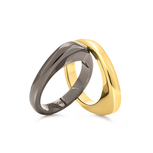 Metal Chic Gun And Yellow Gold Plated Double Ring-