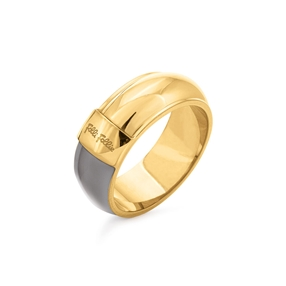 Style Candies Yellow Gold Plated Grey Enamel Wide Ring-