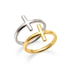 Carma 18k Yellow Gold Plated and Silver Plated Brass Set Ring-