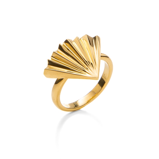 Pleats Bliss 18k Yellow Gold Plated Brass Ring-