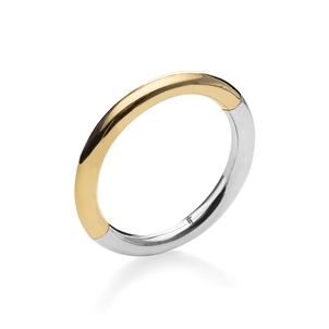 Bi-Metal Chic 18K Yellow Gold & Silver Plated Brass Ring-