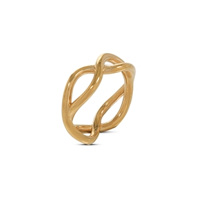 Fluidity Color brass ring with 18K yellow gold plating in spiral eternity motif-