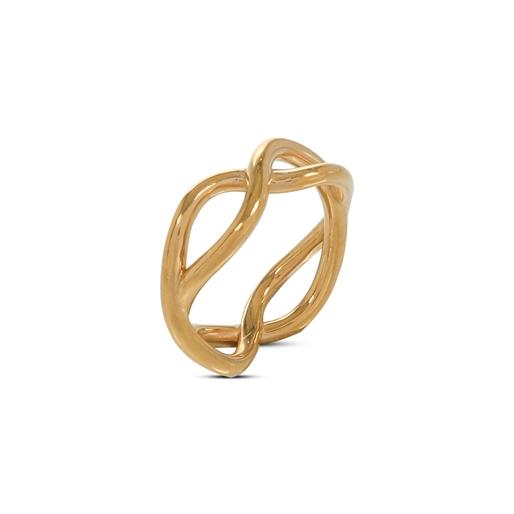 Fluidity Color δαχτυλίδι από ορείχαλκο με 18K κίτρινη επιχρύσωση σε σπιράλ μοτίφ με το σύμβολο της αιωνιότητας-