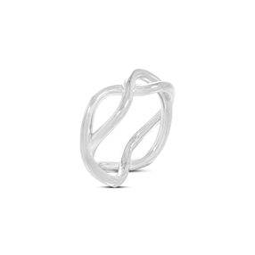 Fluidity Color silver plated brass ring in spiral eternity motif-