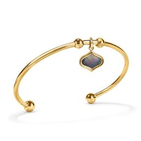 Mod Princess Yellow Gold Plated Bangle Bracelet-