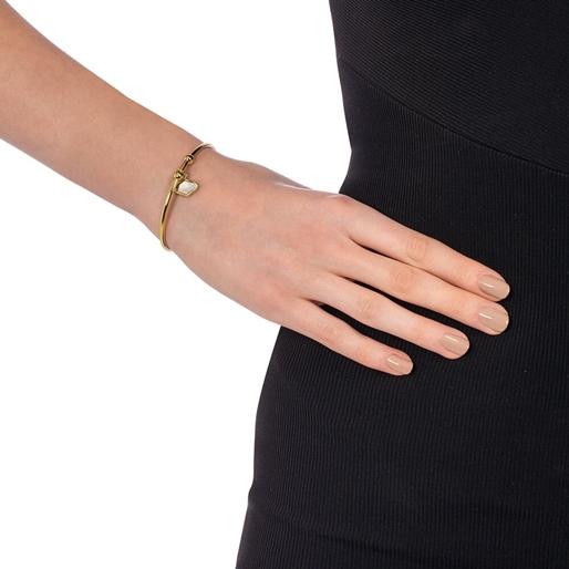 Mod Princess Yellow Gold Plated Bangle Bracelet-