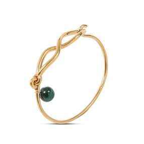 Fluidity Color brass bangle with 18K yellow gold plating, spiral eternity and green malachite sphere motifs-