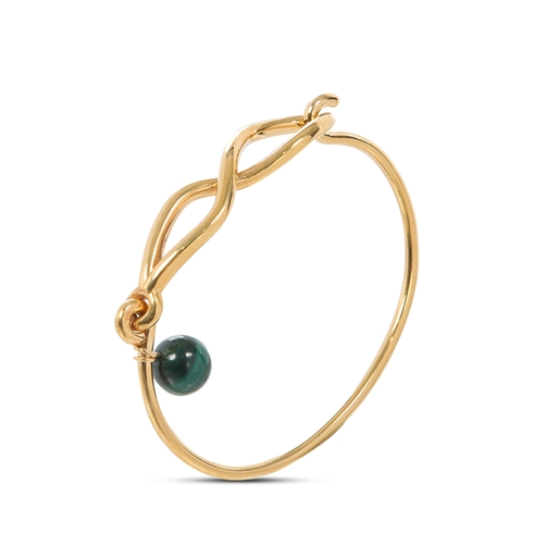 Fluidity Color brass bangle with 18K yellow gold plating, spiral eternity and green malachite sphere motifs -