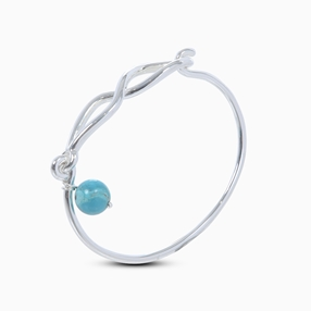Fluidity Color silver plated brass bangle with spiral eternity and turquoise sphere motifs-