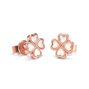 Heart4Heart Chroma Silver 925 Rose Gold Flash Plated Καρφωτά Σκουλαρίκια-