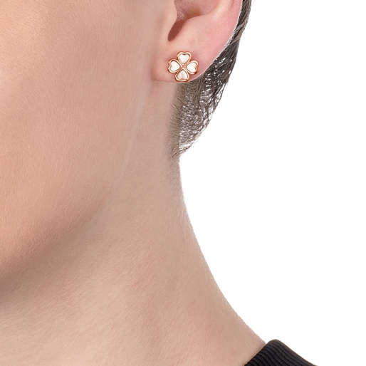 Heart4Heart Chroma Silver 925 Rose Gold Flash Plated Stud Earrings-