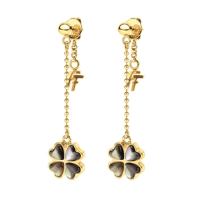Heart4Heart Yellow Gold Plated Long Earrings-