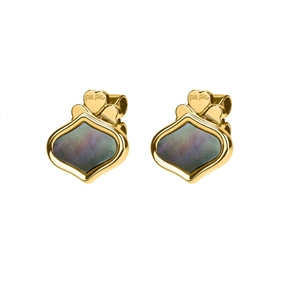 Mod Princess Yellow Gold Plated Stud Earrings-