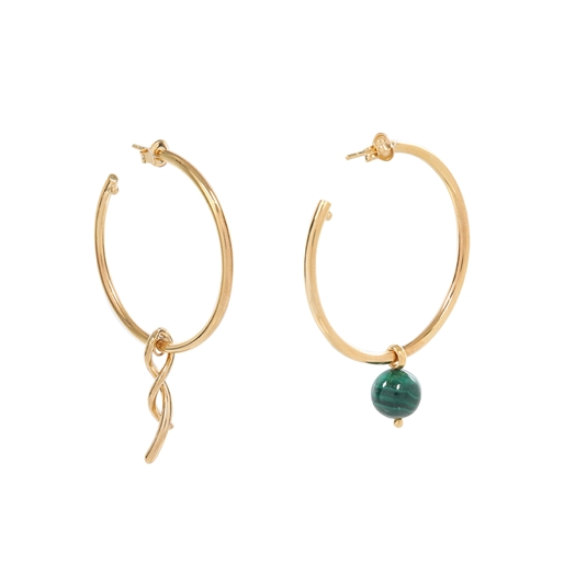 Fluidity Color brass hoops with 18K yellow gold plating, spiral eternity and green malachite sphere motifs -