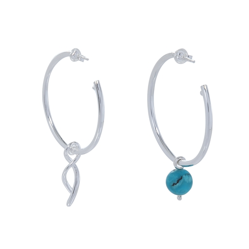 Fluidity Color silver plated brass hoops, spiral eternity and turquoise sphere motifs-