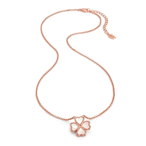 Heart4Heart Chroma Silver 925 Rose Gold Flash Plated Κοντό Κολιέ-