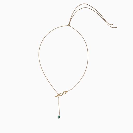Fluidity Color κολιέ αλυσίδα από ορείχαλκο με 18K κίτρινη επιχρύσωση, σπιράλ μοτίφ με το σύμβολο της αιωνιότητας και πράσινη σφαίρα μαλαχίτη-