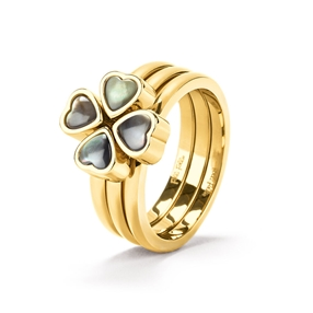Heart4Heart Yellow Gold Plated Set Ring-