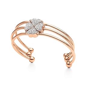Heart4Heart Rose Gold Plated Cuff Bracelet-