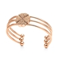 Heart4Heart Rose Gold Plated Pave Champaign Crystal Stone Three Set Cuff Bracelet-