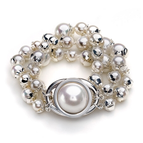 Grace Silver Plated Three Rows White Pearl Bracelet-