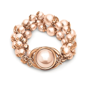 Grace Black Plated Three Rows Light Pink Pearl Bracelet-