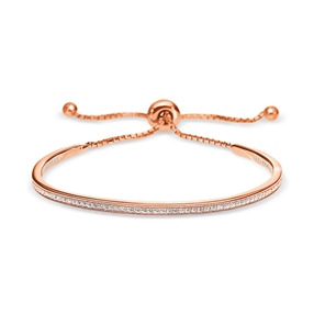 Fashionably Silver Essentials Rose Gold Plated Adjustable Bracelet-
