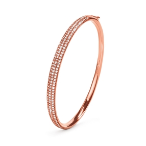 Fashionably Silver Essentials Rose Gold Plated Bangle Bracelet-