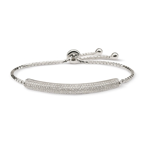 Fashionably Silver Essentials Rhodium Plated Adjustable Bracelet-