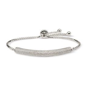 Fashionably Silver Essentials Rhodium Plated Ρυθμιζόμενο Βραχιόλι-