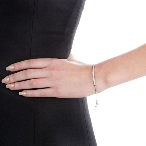 Fashionably Silver Essentials Rhodium Plated Adjustable Bracelet-