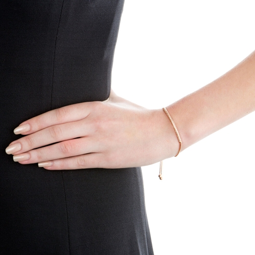 Fashionably Silver Essentials Rose Gold Plated Ρυθμιζόμενο Βραχιόλι-