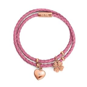 Heart4Heart Sweetheart Flash Rose Gold Plated Βραχιόλι Με Διπλό Συνθετικό Δερμάτινο Κορδόνι-