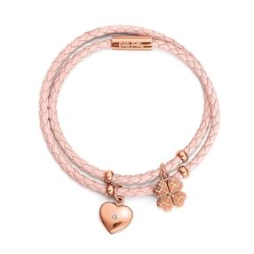 Heart4Heart Sweetheart Flash Rose Gold Plated Με Διπλό Συνθετικό Δερμάτινο Βραχιόλι Κορδόνι-