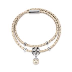 Heart4Heart Silver Plated Clear Crystal Stone Beige Pearl & Double Beige Row Bracelet-