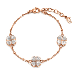 Heart4Heart Rose Gold Plated Pave Clear Crystal Stone Bracelet-