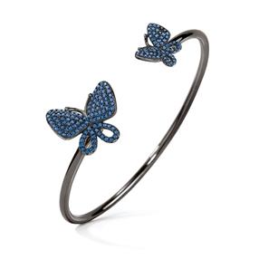 Wonderfly Silver 925 Black Flash Plated Cuff Bracelet-