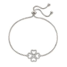 Miss Heart4Heart Rhodium Plated Adjustable Bracelet-