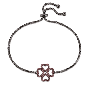 Miss Heart4Heart Black Flash Plated Adjustable Bracelet-