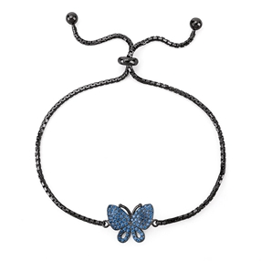 Wonderfly Silver 925 Black Flash Plated Adjustable Bracelet-